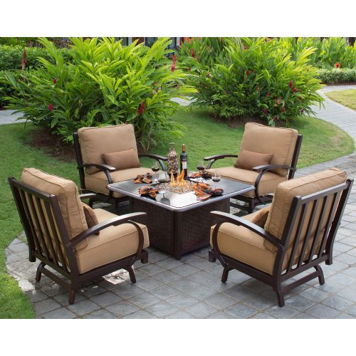 Madison 5 Piece Conversational Patio Seating With Fire Table Outdoor