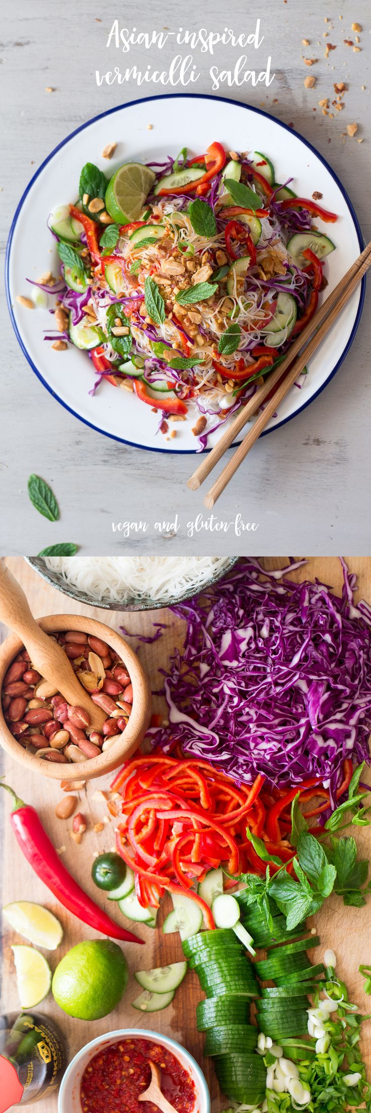 easy asian inspired vermicelli salad with peanuts