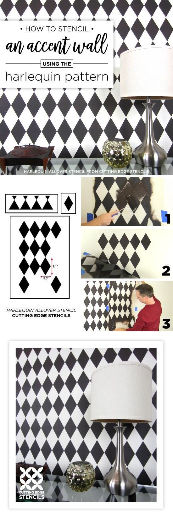 Best 25 diamond wall ideas on pinterest wall patterns macrame cutting edge stencils shares a stencil tutorial showing how to paint the harlequin allover pattern a diamond wall stencil amipublicfo Choice Image