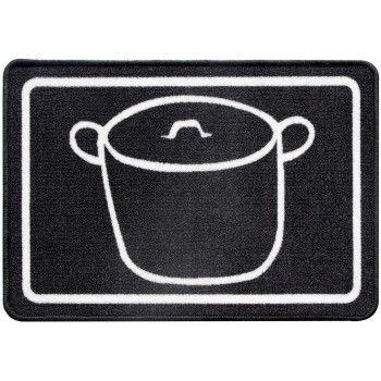 Alfombra cocina Olla negra blanca