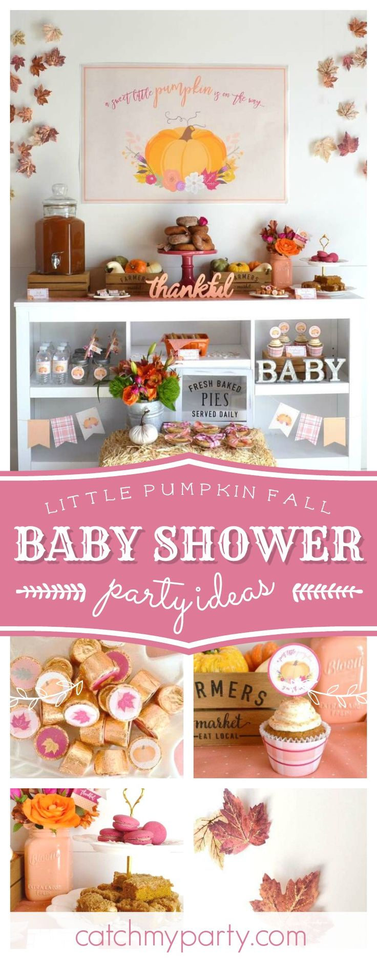 Take a look at this gorgeous rustic Little Pumpkin Fall Baby Shower! The dessert table is so pretty!! See more party ideas and share yours at CatchMyParty.com  #pumpkin #babyshower