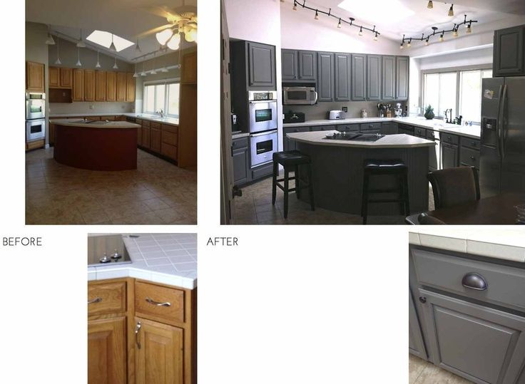 Updating Oak Cabinets Before And After Before After