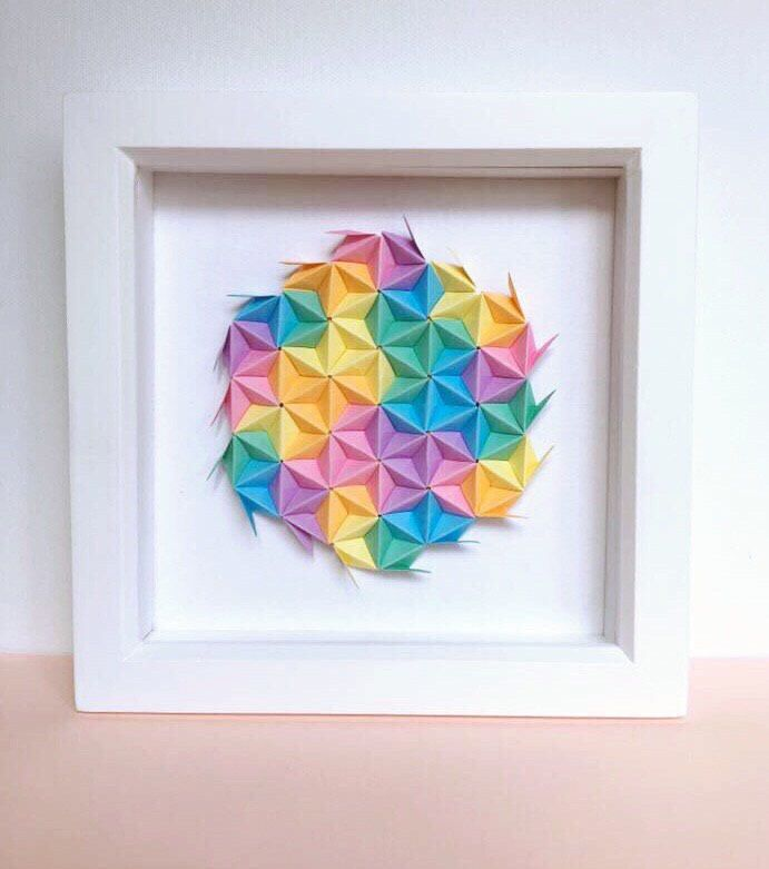 A personal favourite from my Etsy shop https://www.etsy.com/uk/listing/520879176/rainbow-origami-wall-art-colourful
