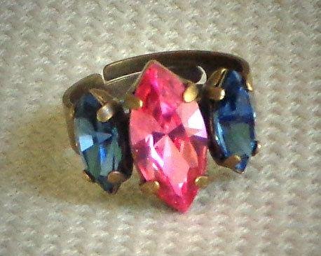 Austrian Crystal three stone navette fancy by CrystallizedByLena, $19.00