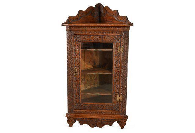 19th-C. English Oak Corner Cabinet