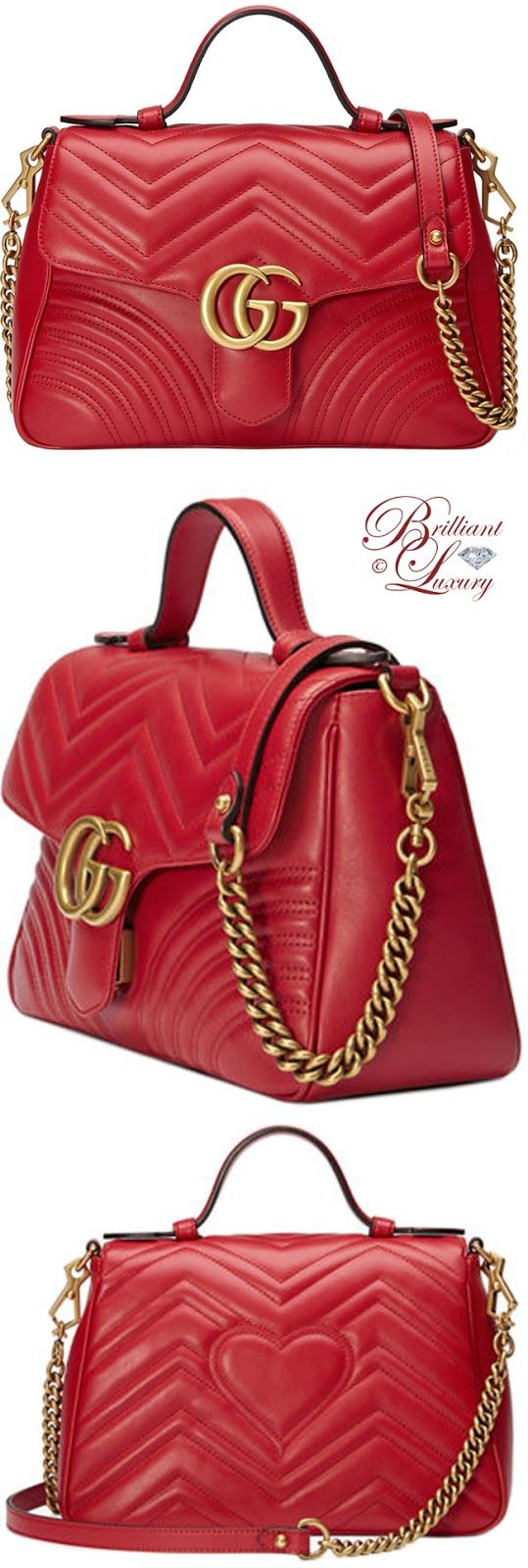 Brilliant Luxury ♦ Gucci GG Marmont Small Chevron Quilted Top-Handle Bag with Chain Strap