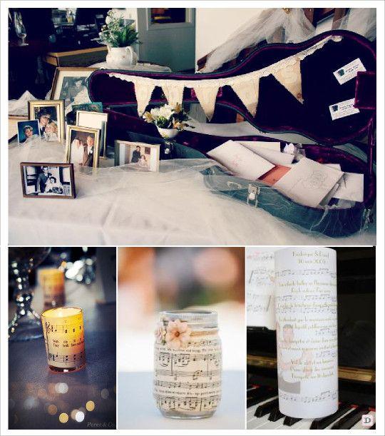 mariage musique urne étui guitare photophore partition diy menu photophore