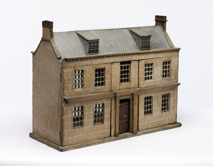 """""""Compared with the well known and magnificent 18th century baby or dolls houses, this little house is very modest in every aspect. It is a miniature version of the type of house that was commonly found in both town and country in the 18th century. By the end of that century toy shops had appeared in most major cities. It is likely that this little house would have been bought in a shop.""""1750-1800"""