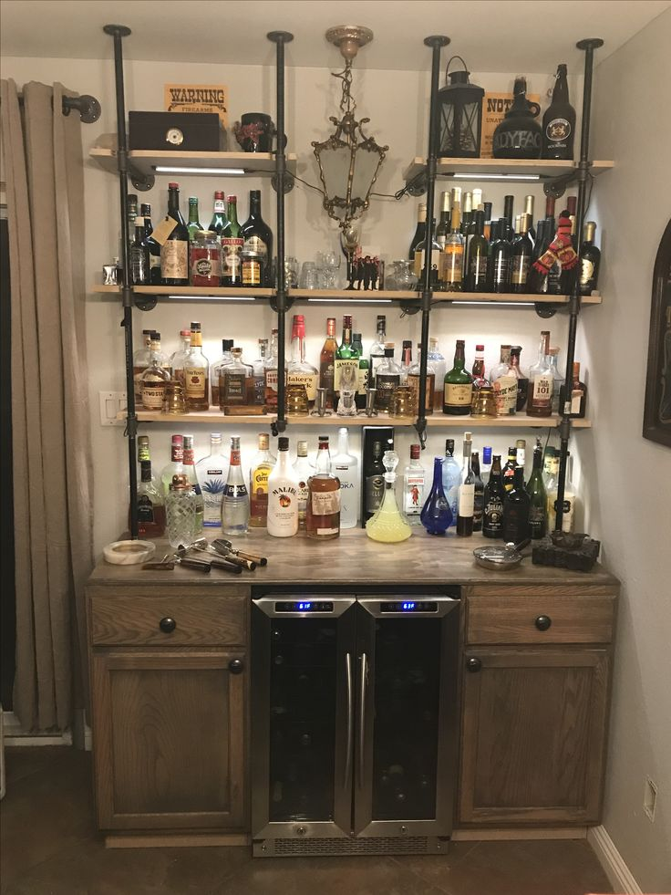 Industrial Pipe Bar With Wine Fridge Old West Knobs