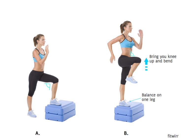 Step Ups Exercise On Stairs How To Do Step Up To Balance Leg Exercises