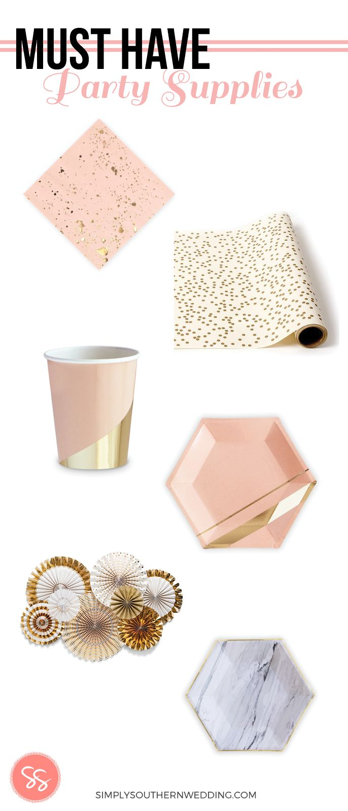 Must have party supplies for everything from a 1st birthday party to a bridal shower. These gorgeous gold accented party supplies will satisfy all your party planning needs and make clean-up a breeze! || Check out all of our party supplies online at simplysouthernwedding.com