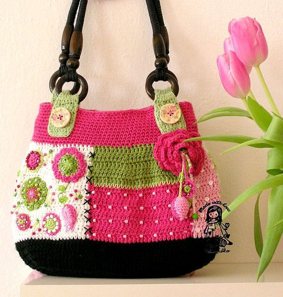 Because I love flowers:-).... I call this bag Gently love. This bag is unique.    *This is a crochet pattern and not the finished item*    This pattern
