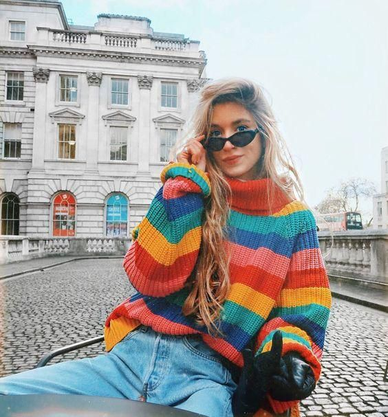 Rainbow Striped Pullover Sweaters Winter Turtleneck Loose Oversized Jumper 2