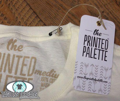Custom Hang Tags for The Printed Palette printed by #greenerprinter