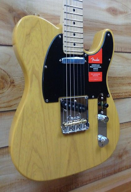 """New Fender American Professional Telecaster!Weight: 7 lbs 9 ozNotable upgrades for the American Professional Series Telecaster:V-Mod PickupsV-Mod Telecaster pickups are engineered with a proprietary blend of alnico magnet types. Each pickup is voiced specifically for its position, creating high-output tone with vintage warmth and the crisp, clear sound that made Fender a legend.New """"Deep C"""" Neck ProfileDesigned for comfort and speed, the new American Professional """"Deep C"""" neck profile sports…"""