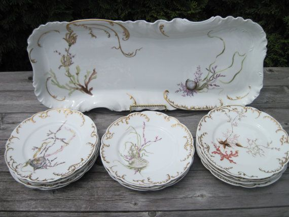 Reserved Antique Haviland Limoge 1890 Hand Painted Fish