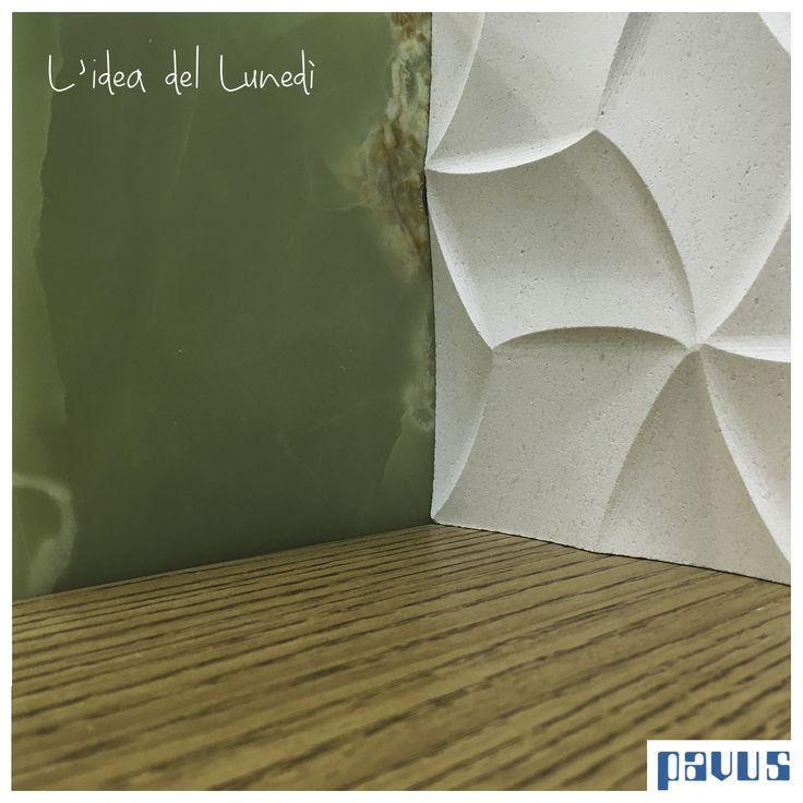 """- Un bellissimo Onice verde  - Pietra incisa """"Cubo"""" in bianco cotone di Lithos Design   - Il pregiatissimo parquet in rovere morciato di CP Parquet"""