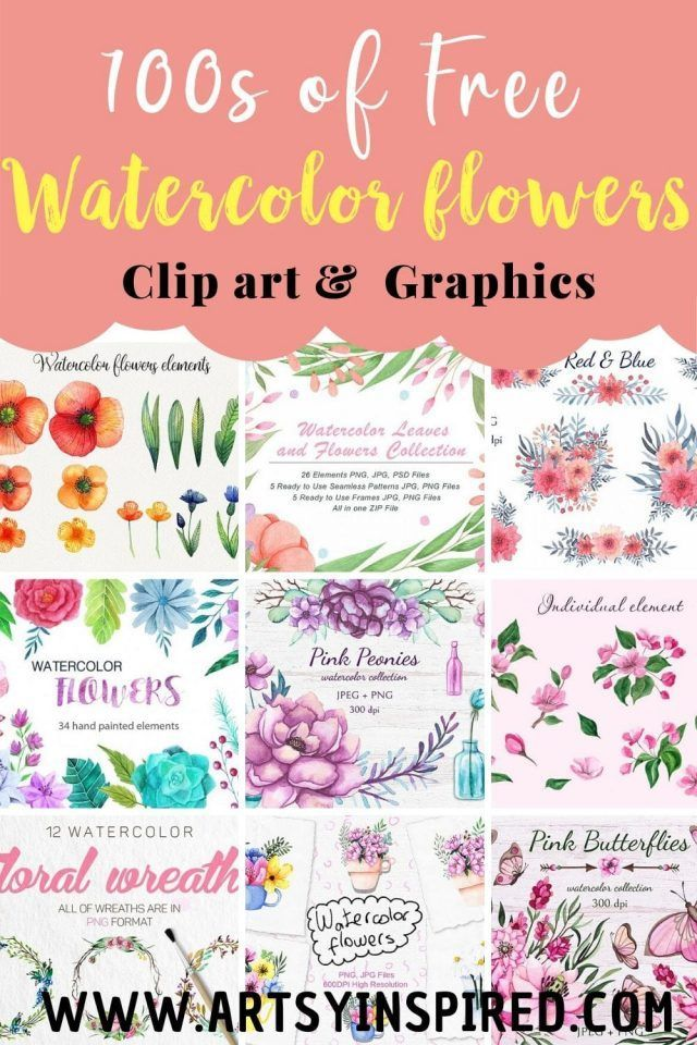 Download Free Watercolor Flowers With Commercial Use Clip Art Graphics Jpeg Psd Png Files Pe Free Watercolor Flowers Clip Art Freebies Free Flower Clipart