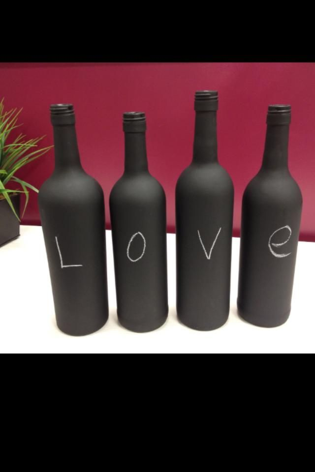 Wijnflessen met schoolbordverf!