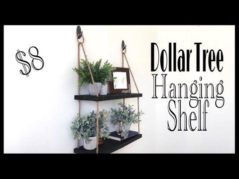 Dollar Tree DIY Hanging Rope Shelf – YouTube
