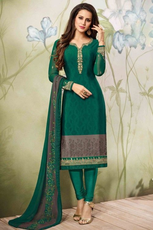 Gorgeous Green And Grey Crepe Churidar Suit With Dupatta