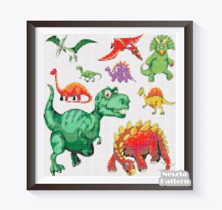Dinosaur Cross Stitch Pattern, Dinosaur x stitch   Craftsy