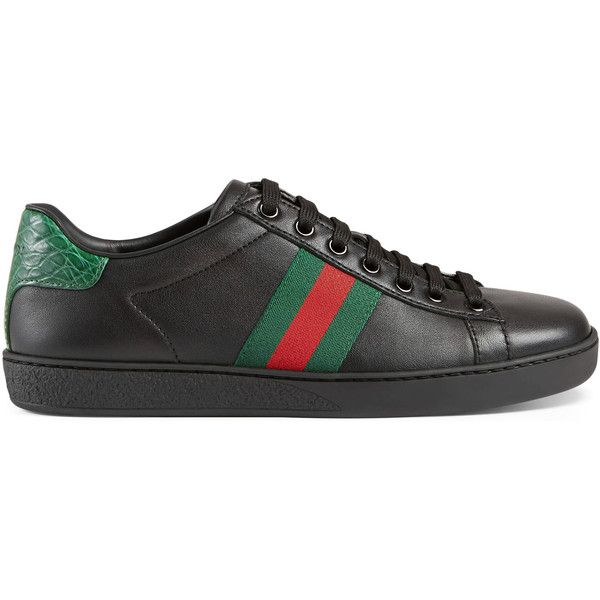 the best get online factory outlet Gucci Ace Leather Low-Top Sneaker ($545) ❤ liked on ...