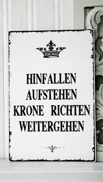 Namens- & Türschilder - XL 26x17cm Shabby Vintage Schild KRONE Nostalgie - ein Designerstück von homestyle-accessoires bei DaWanda