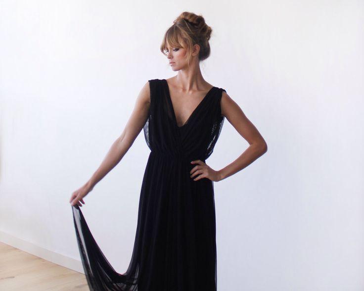 Black sheer chiffon maxi dress, with short sleeves by BLUSHFASHION on Etsy https://www.etsy.com/listing/197122236/black-sheer-chiffon-maxi-dress-with