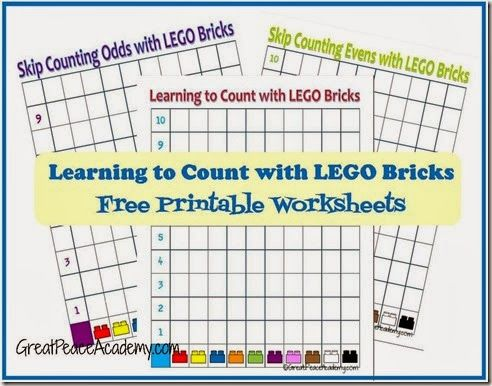 Free Printable Counting Sheets for Learning to Count with LEGO Bricks