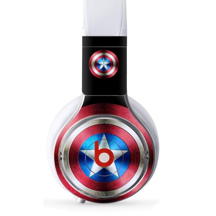 Captain America decal for Monster Beats Pro wireless headphones