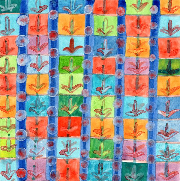 Colorful Planting Plants In Squares Pattern by Heidi Capitaine #design #pattern #color #vivid  #nature #plants #colorful #square #geometry #floral