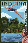 Indiana - Woman Diving & Lake - Lantern Press Artwork