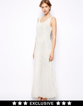 Frock and Frill All Over Beaded Maxi Dress $316.64 | Could be worn with a belt