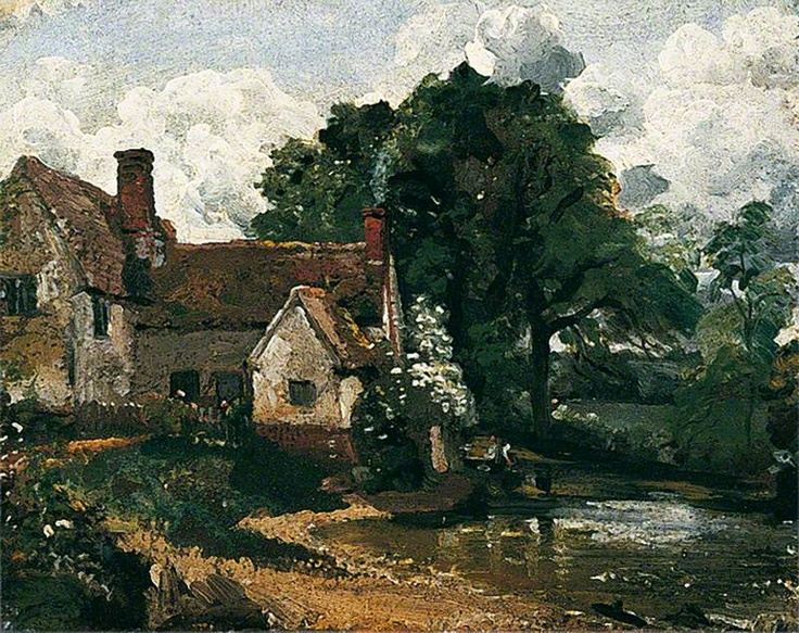 Willy Lott's House . John Constable, 'The Hay Wain' (1821). This quintessentially British country scene depicts a site near Flatford, England. As the story goes, a tenant farmer named Willy Lott was born in the cottage, died in the cottage, and only left for four days in his lifetime. The house still stands today, along with Flatford Mill located immediately behind which was owned by Constable's father at the time this was painted.