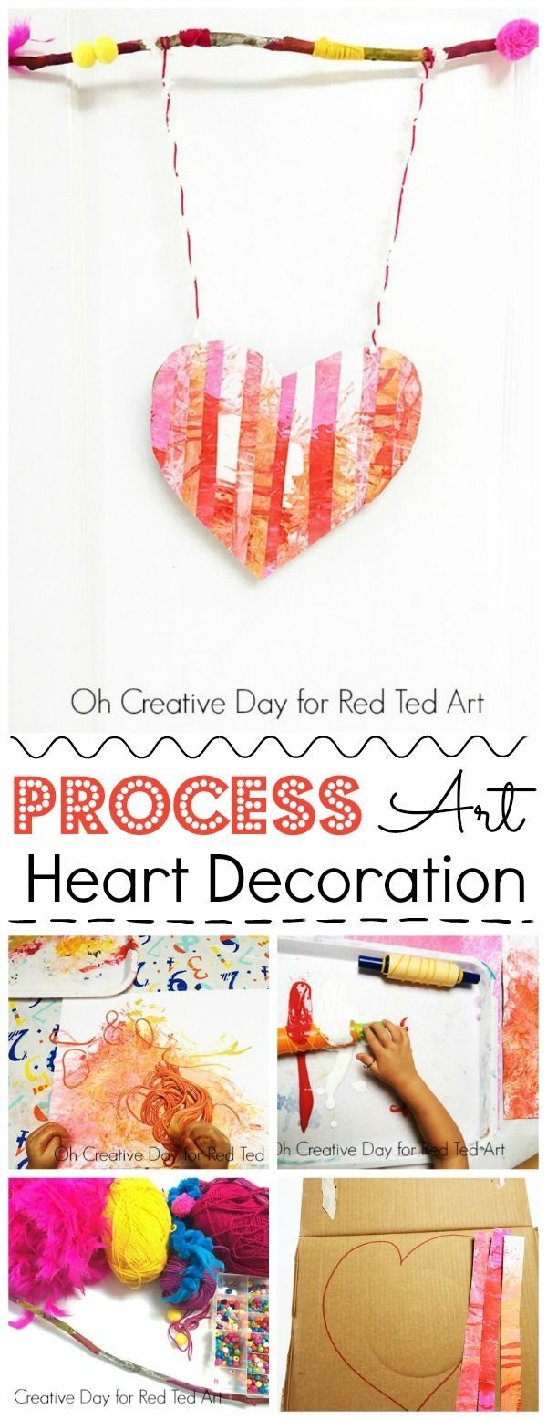 Process Art Heart Preschool - a wonderful way to explore and have fun with process art. Turn your spaghetti painting and printing making into this wonderful yarn wrapped wall hanging. A perfect Valentines project for kids, or lovely any time of year!