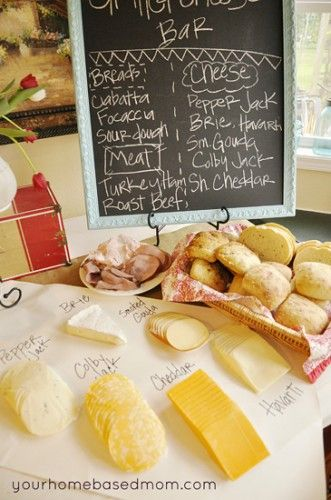 Build-Your-Own Grilled Cheese Bar - This post offers great ideas for a grilled cheese bar.  Grab some friends and neighbours then set out various selections of bread, cheese, sliced meats/bacon, condiments & salads for a gourmet grilled cheese party bar.