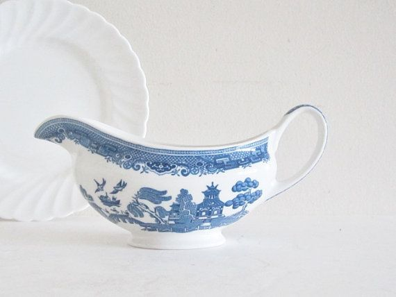 Blue Willow English Ironstone Tableware Gravy Boat Bowl by cozycottagechic