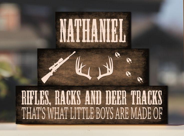 Baby Boy Nursery Decor Rifles Racks Deer Tracks  Antler Camo Blocks Personalized Rustic Country Bedroom Decor -Trio Wood Stack - Decor/Gift by BlendedCreationsInc on Etsy