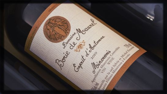 Borie de Maurel, Esprit d'Automne, 2010, AOP Minervois -     The time has come to uncork the well-named Esprit d'Automme to accompany frid mushrooms, pumpkin velouté and other specialities of the season. Like blue jeans, says Michel Escande, this wine goes with everything - a way of saying that it is indispensible for your collection...of wines.