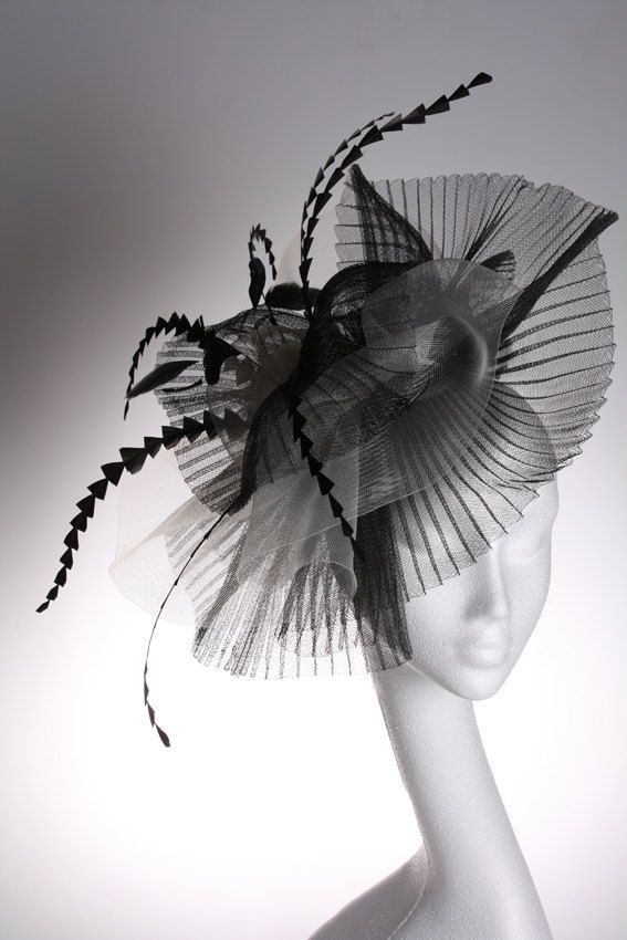 Large Black and White Crin Fascinator / Couture Hats by Beth