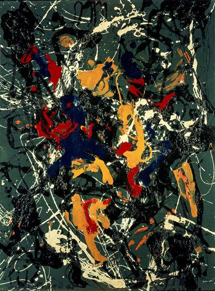 """Number 3"" by Artist: Jackson Pollock, Completion Date: 1948, Style: Action painting, Period: Drip period."