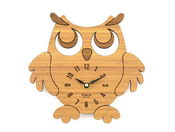 Wooden Owl Clock, Bamboo Clock for an Office, Nursery, Kids' Room, Gift for…