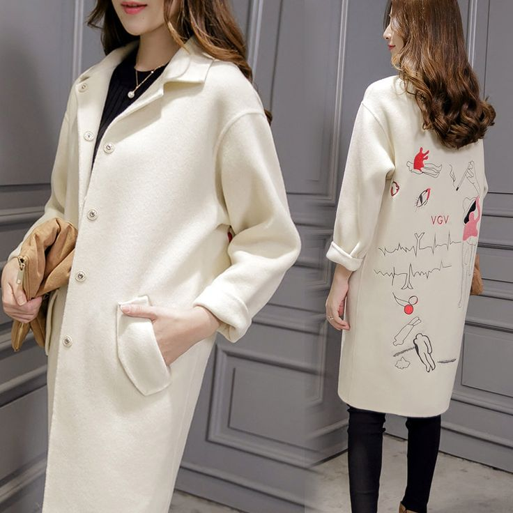 Long section of the white cocoon-style woolen coat long-sleeved female winter long-sleeved 2016 winter students loose wool coat