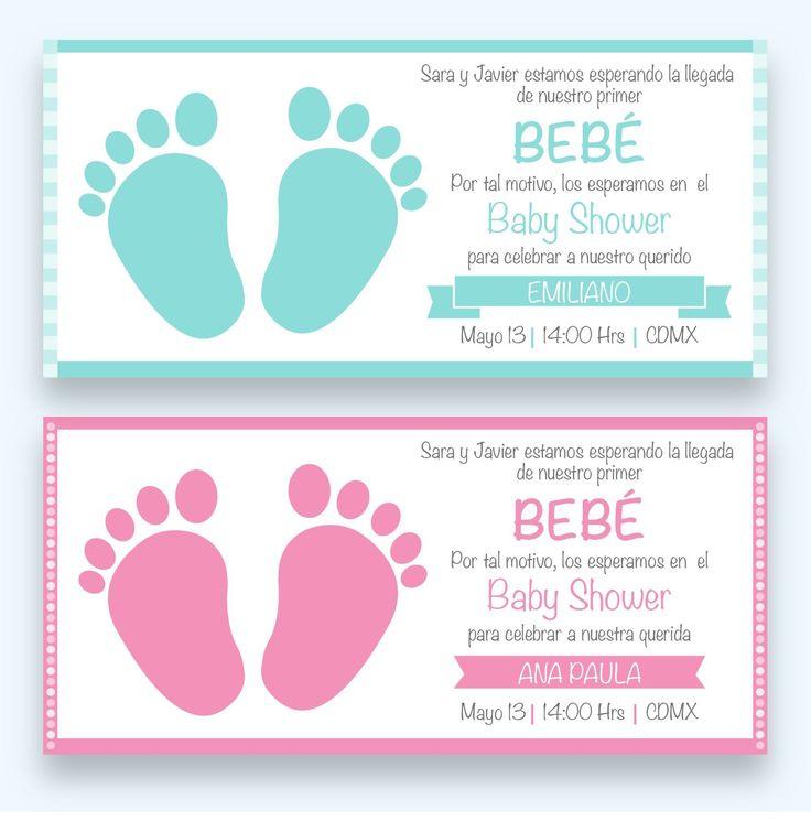 INVITACIÓN SENCILLA DE BABY SHOWER NIÑA/NIÑO MOD: BS05  INCLUYE: Bolsa de celofán Etiquetas para recuerdos Bolsitas para dulces Etiquetas botellas de agua