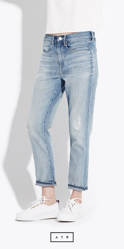 Get loose, but not too loose. A slimmed out boyfriend jean for summer days and nights. Take 20% off your first pair here: https://ayr.com/products/the-slim-slouchy?color=joy%20ride&utm_medium=Social&utm_source=Pinterest&utm_campaign=2015-06-11_AYR_Slim%20Slouchy%20in%20Joy%20Ride_&cvosrc=Social.Pinterest.2015-06-11_AYR_Slim%20Slouchy%20in%20Joy%20Ride