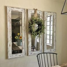 Retrofitted Wall Mirrors with Natural Wreath Accent ~ could make from recycled w… http://www.nicehomedecor.site/2017/07/16/retrofitted-wall-mirrors-with-natural-wreath-accent-could-make-from-recycled-w/
