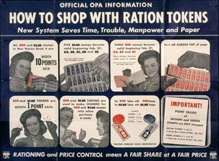 "This poster explained how to use red and blue ration tokens, which were given as ""change"" for ration stamps, and could be used to supplement stamps to pay for rationed goods."