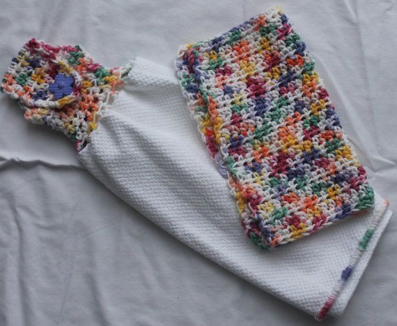 Rainbow kitchen towel with matching washcloth---Ready to Ship