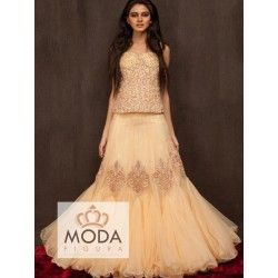 Steal the lime light with this net peach lehenga detailed with resham thread, stone work, dabka.